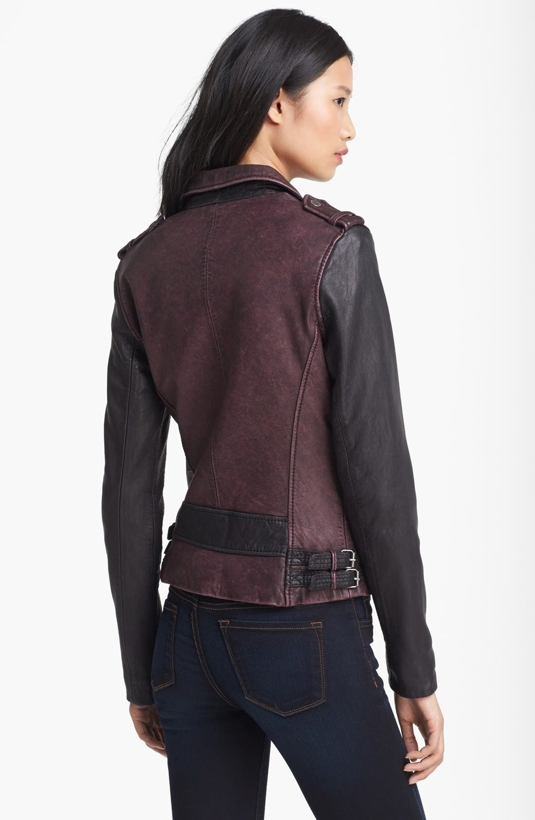 Alternate Image 2  - MICHAEL Michael Kors Two Tone Washed Leather Jacket (Online Only)