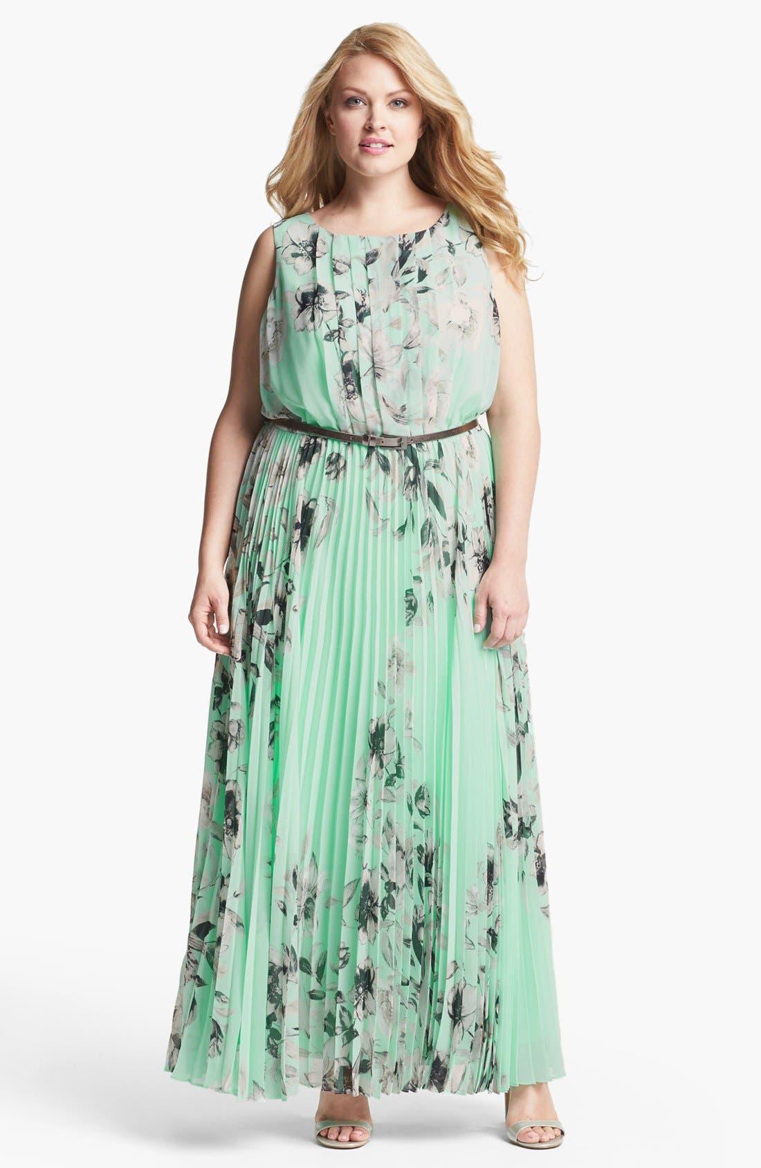 Alternate Image 1 Selected - Eliza J Floral Sleeveless Print Chiffon Maxi Dress (Plus Size)
