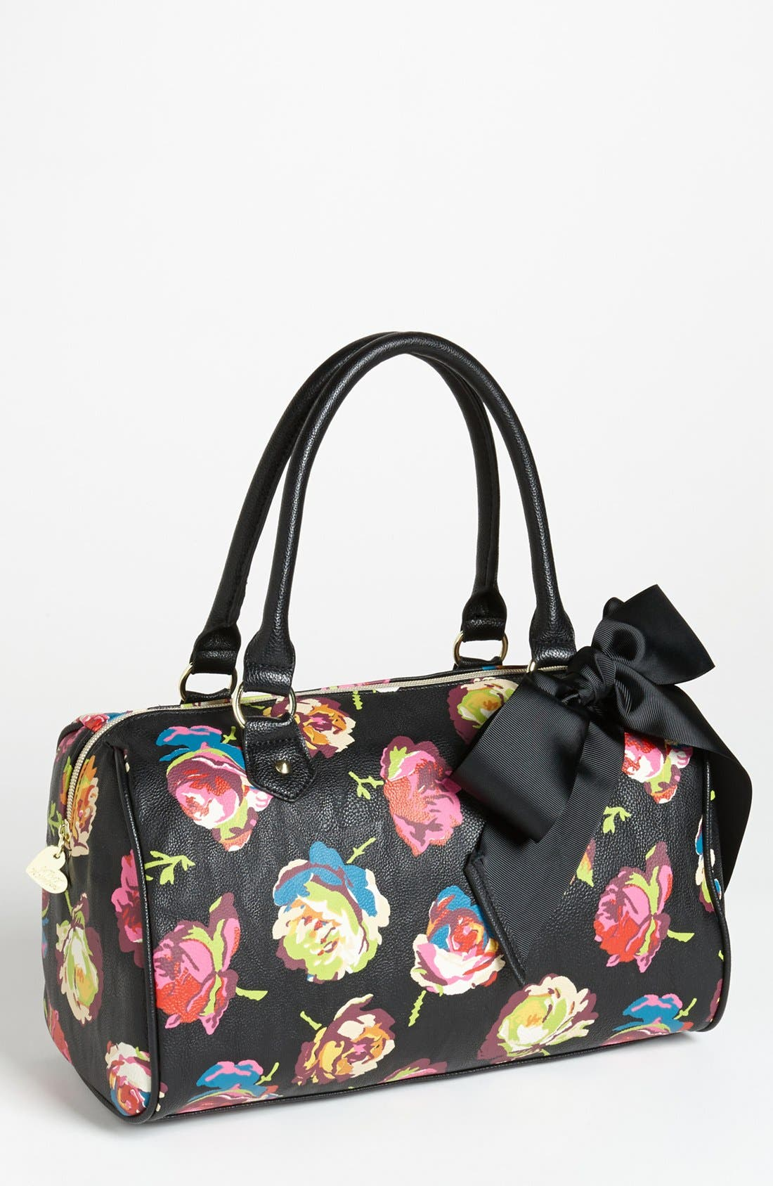 Alternate Image 1 Selected - Betsey Johnson Faux Leather Floral Satchel