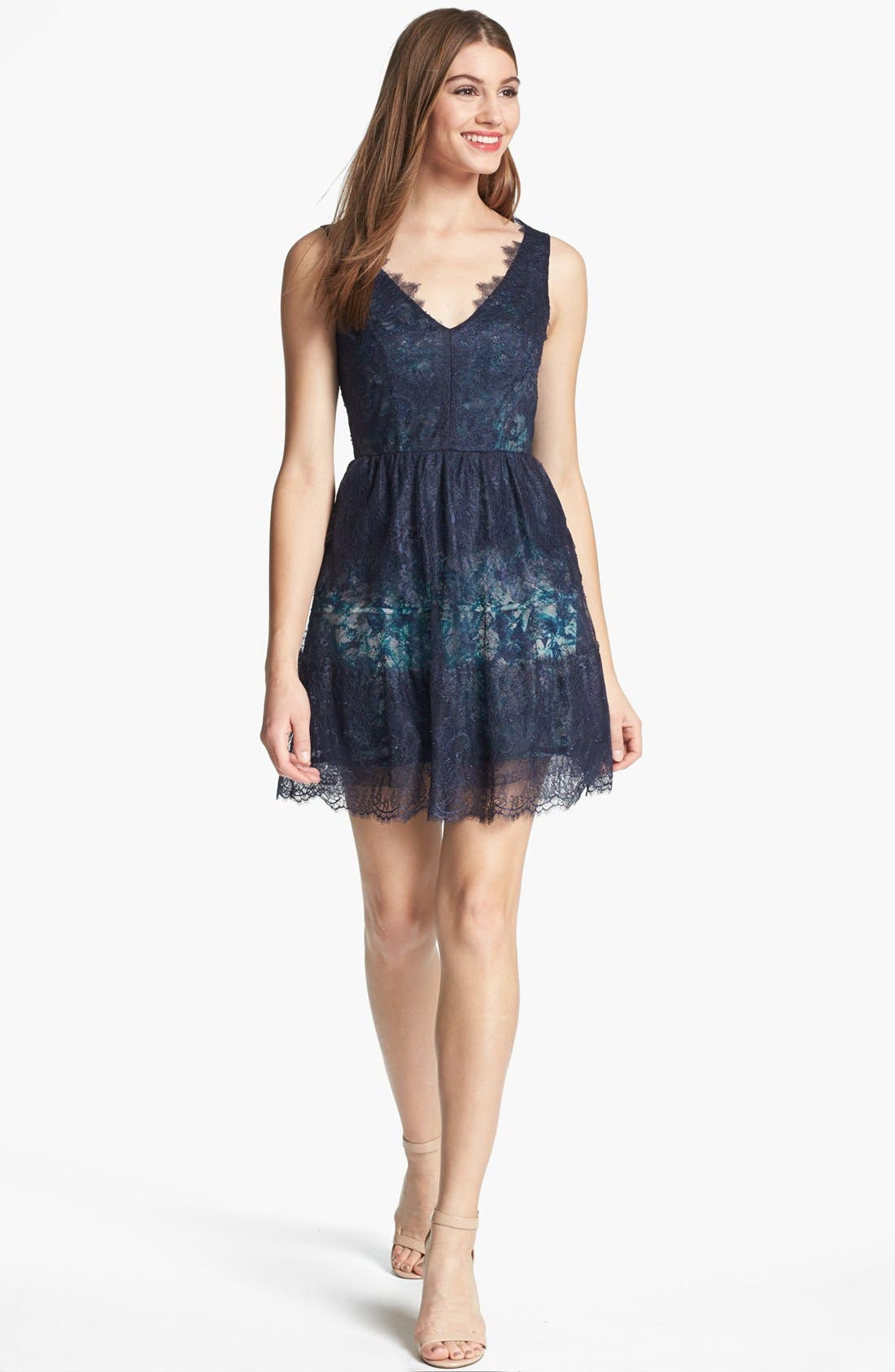 Alternate Image 1 Selected - BCBGMAXAZRIA Lace Fit & Flare Dress