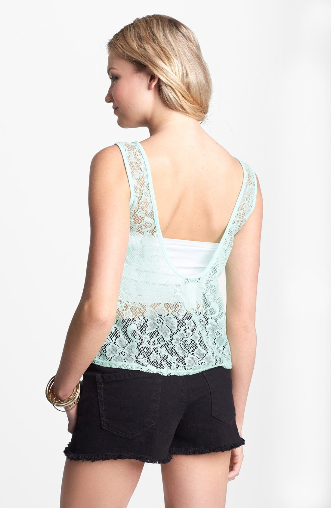 Alternate Image 2  - Love Squared Lace Crop Tank (Juniors)