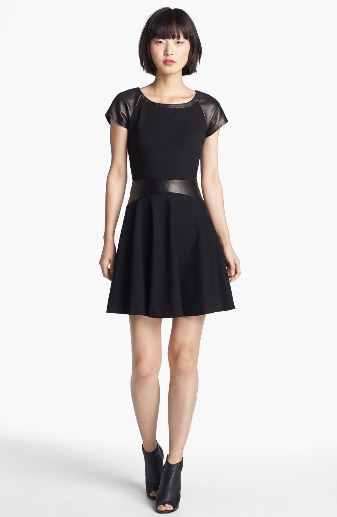 Main Image - Diane von Furstenberg 'Delyse' Leather Trim Dress