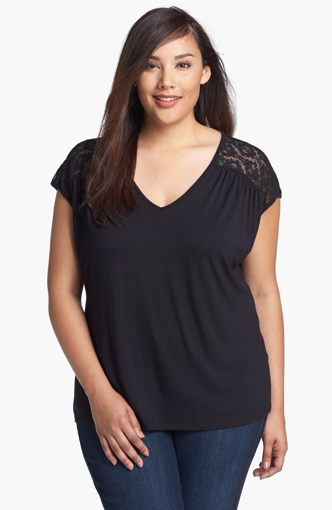 Main Image - Sejour Lace Detail Knit Tee (Plus Size)