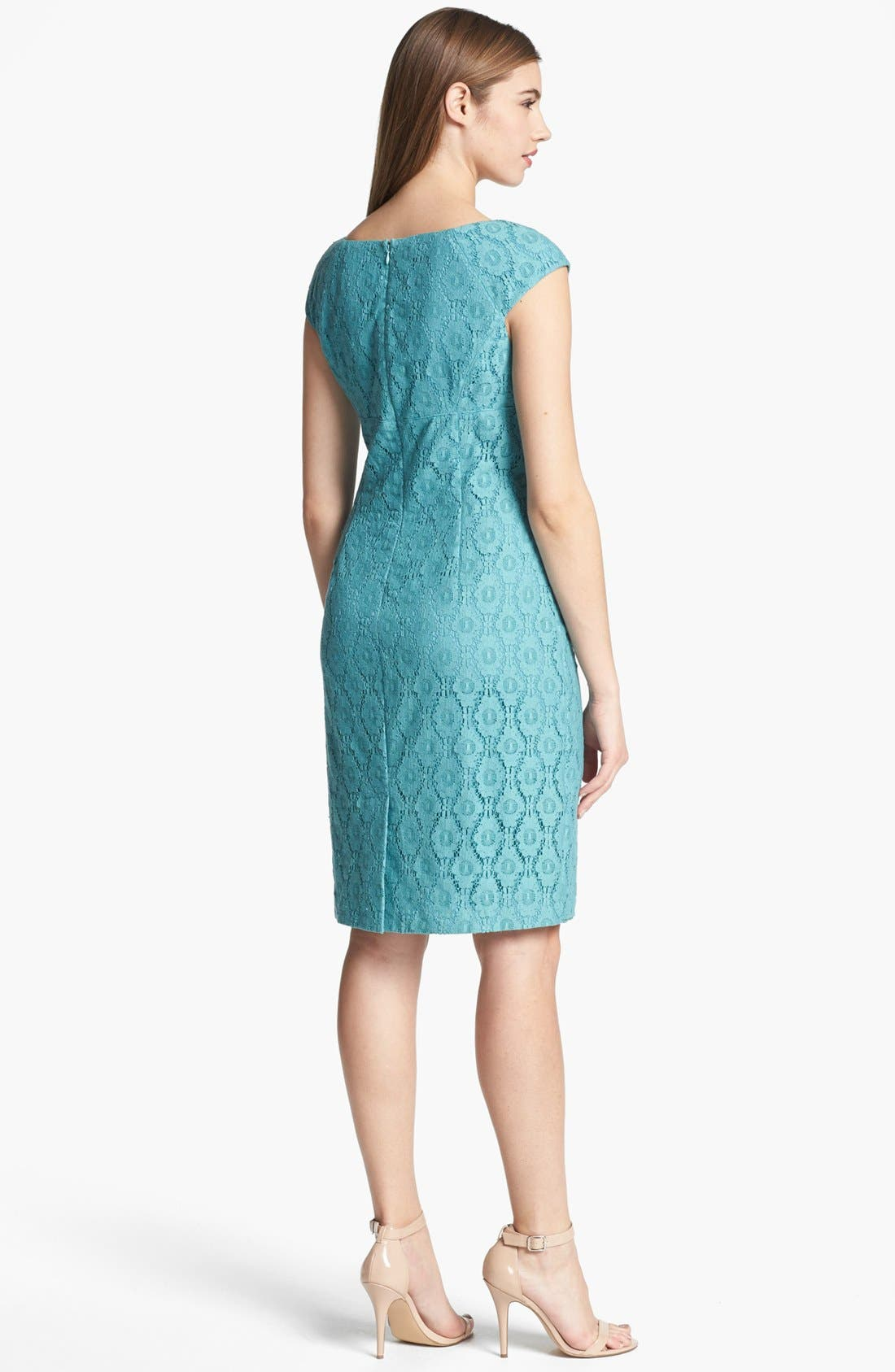 Alternate Image 2  - Adrianna Papell Cap Sleeve Lace Sheath Dress