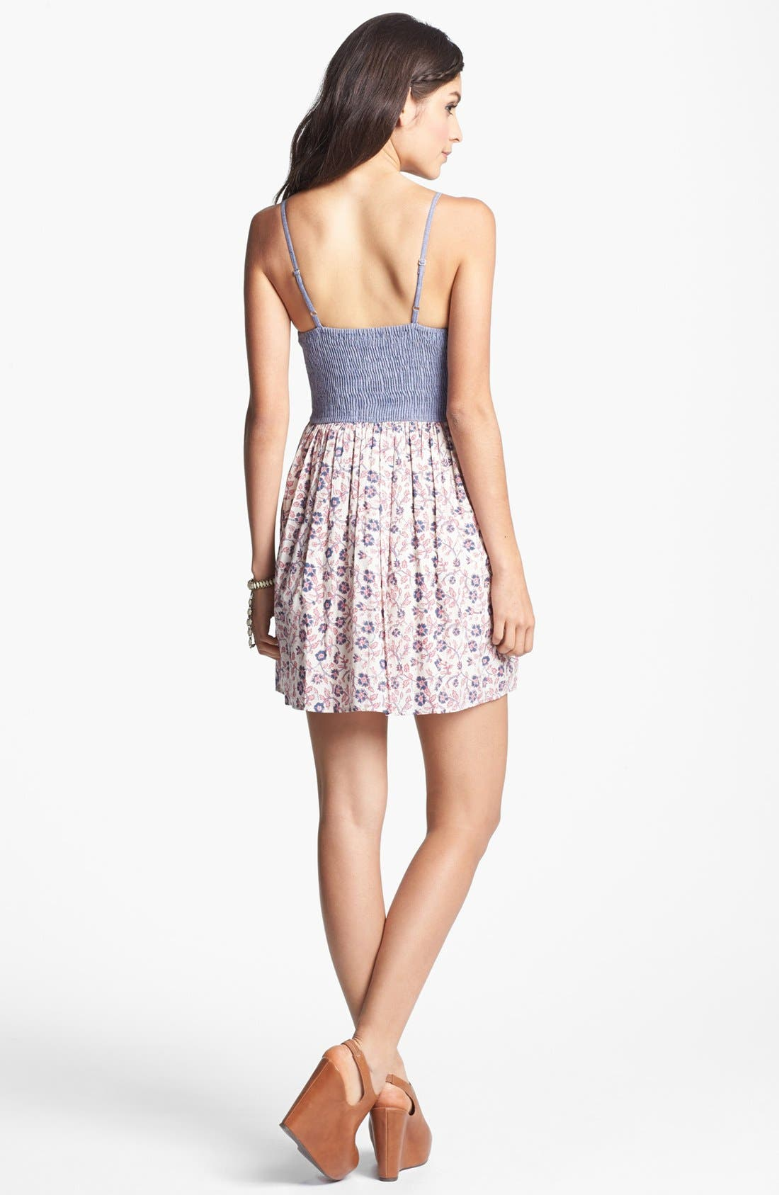 Alternate Image 2  - Band of Gypsies Chambray Bustier Sundress (Juniors) (Online Only)