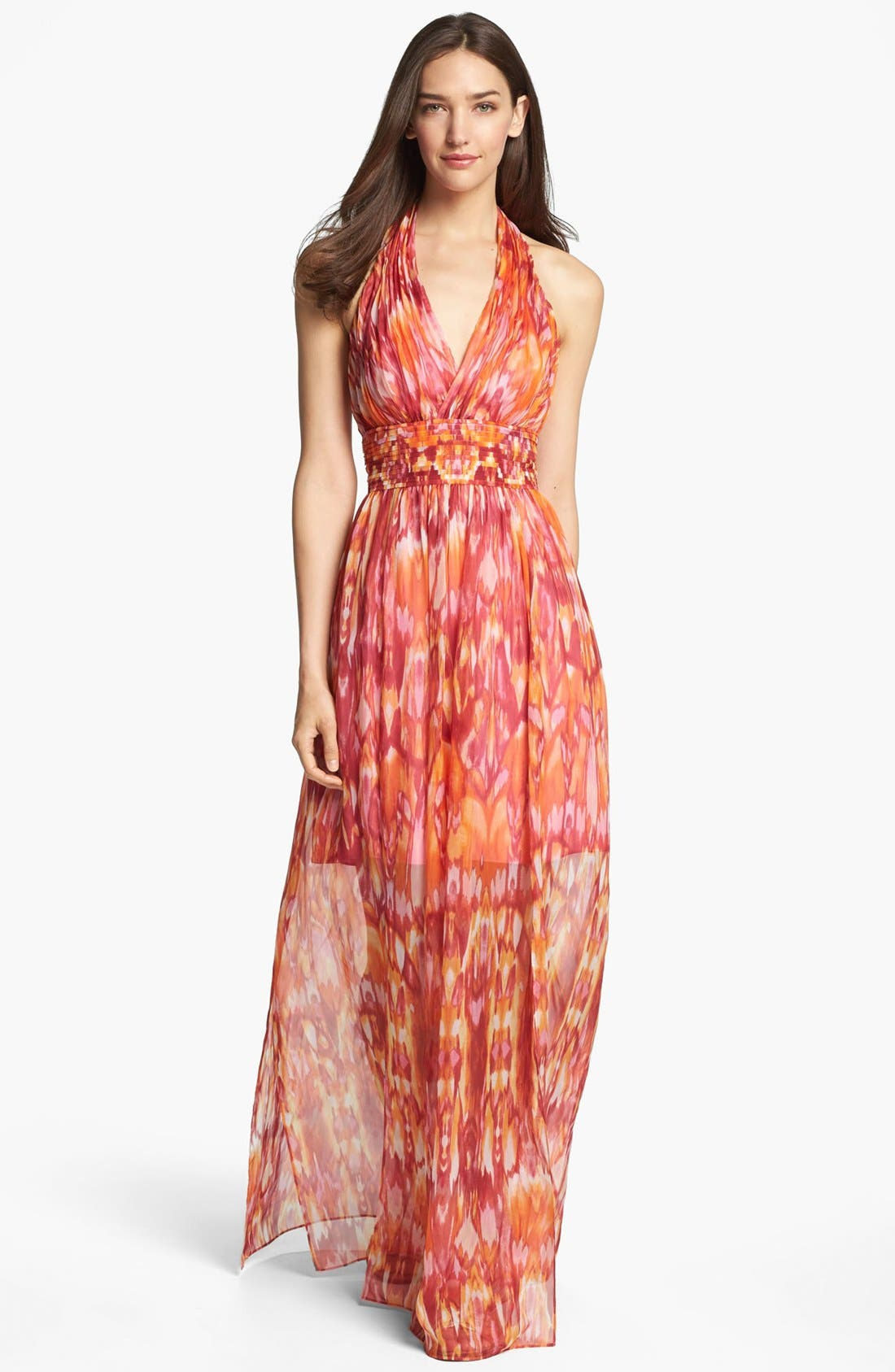 Main Image - Laundry by Shelli Segal 'Sun Shadow' Print Halter Dress