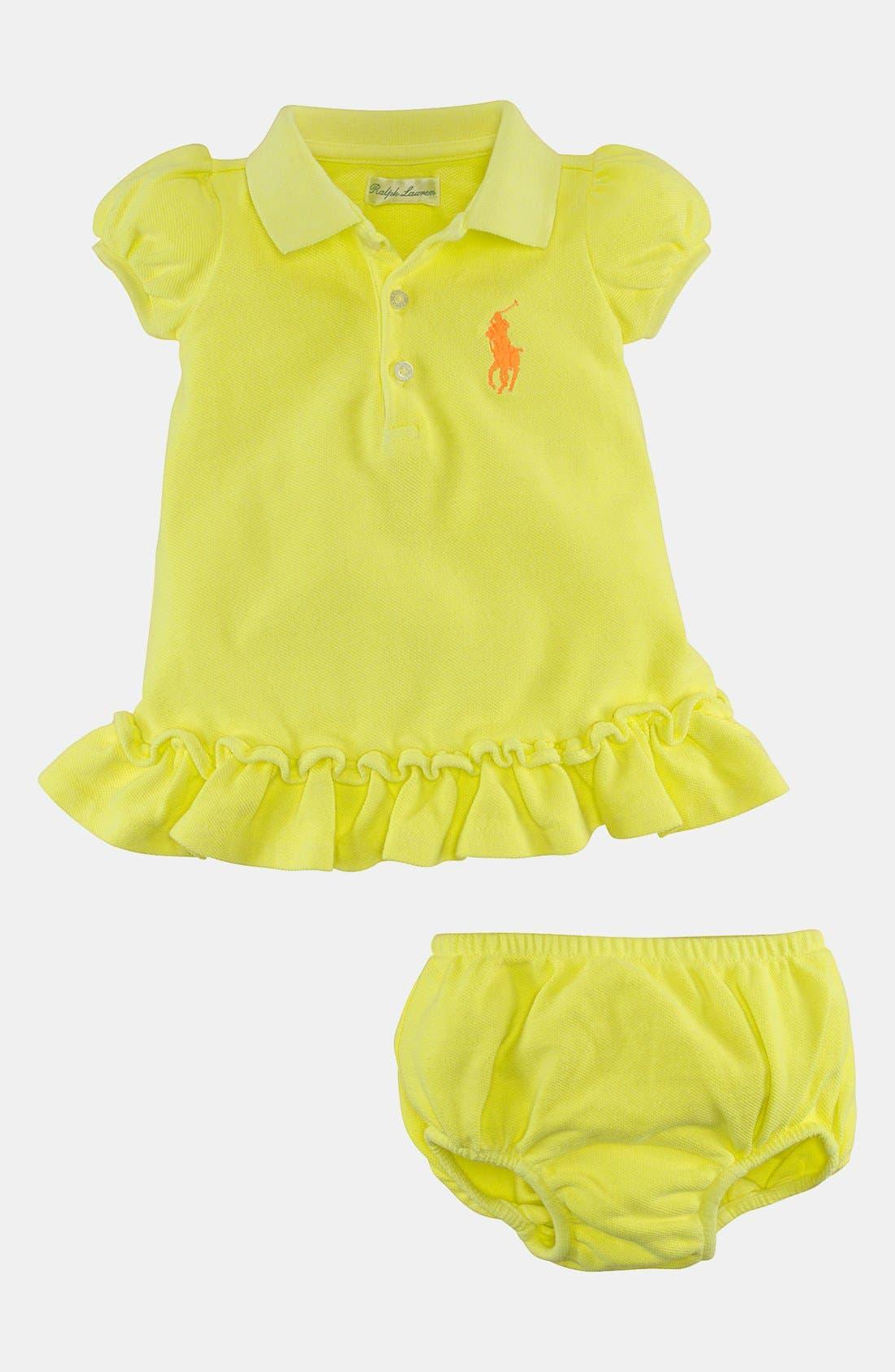 Alternate Image 2  - Ralph Lauren Polo Dress & Bloomers (Baby Girls)