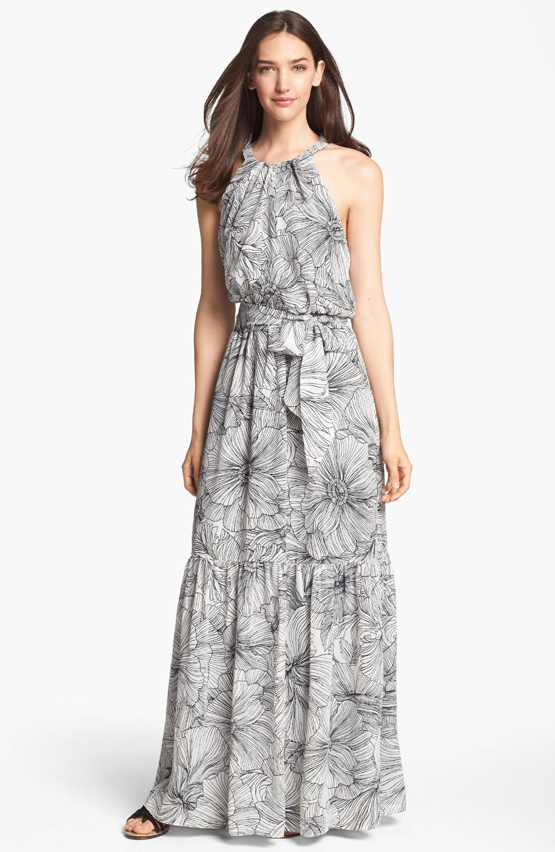Alternate Image 1 Selected - Jessica Simpson Scalloped Back Print Maxi Dress