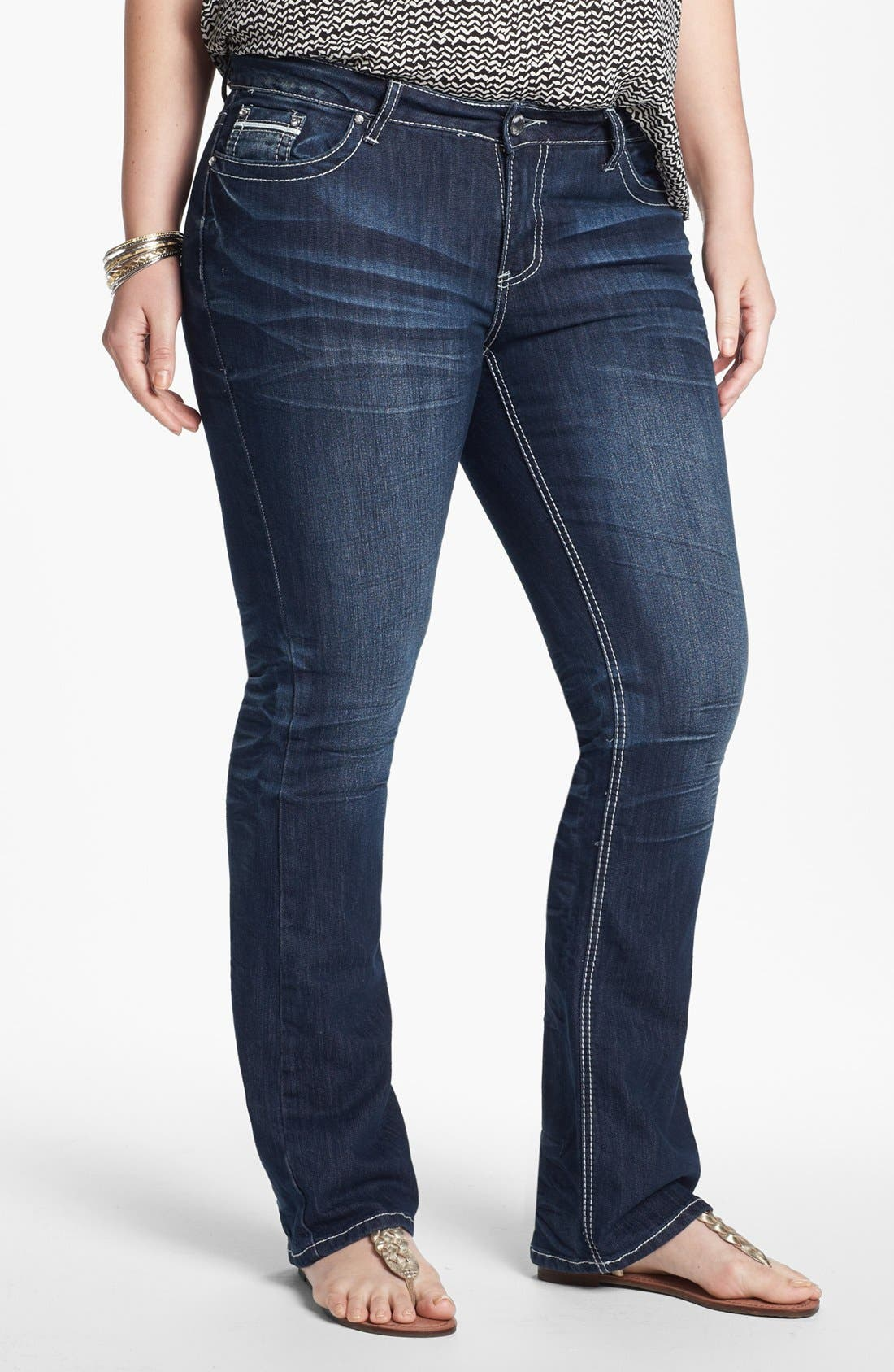 Alternate Image 1 Selected - ZCO Bootcut Jeans (Juniors Plus)
