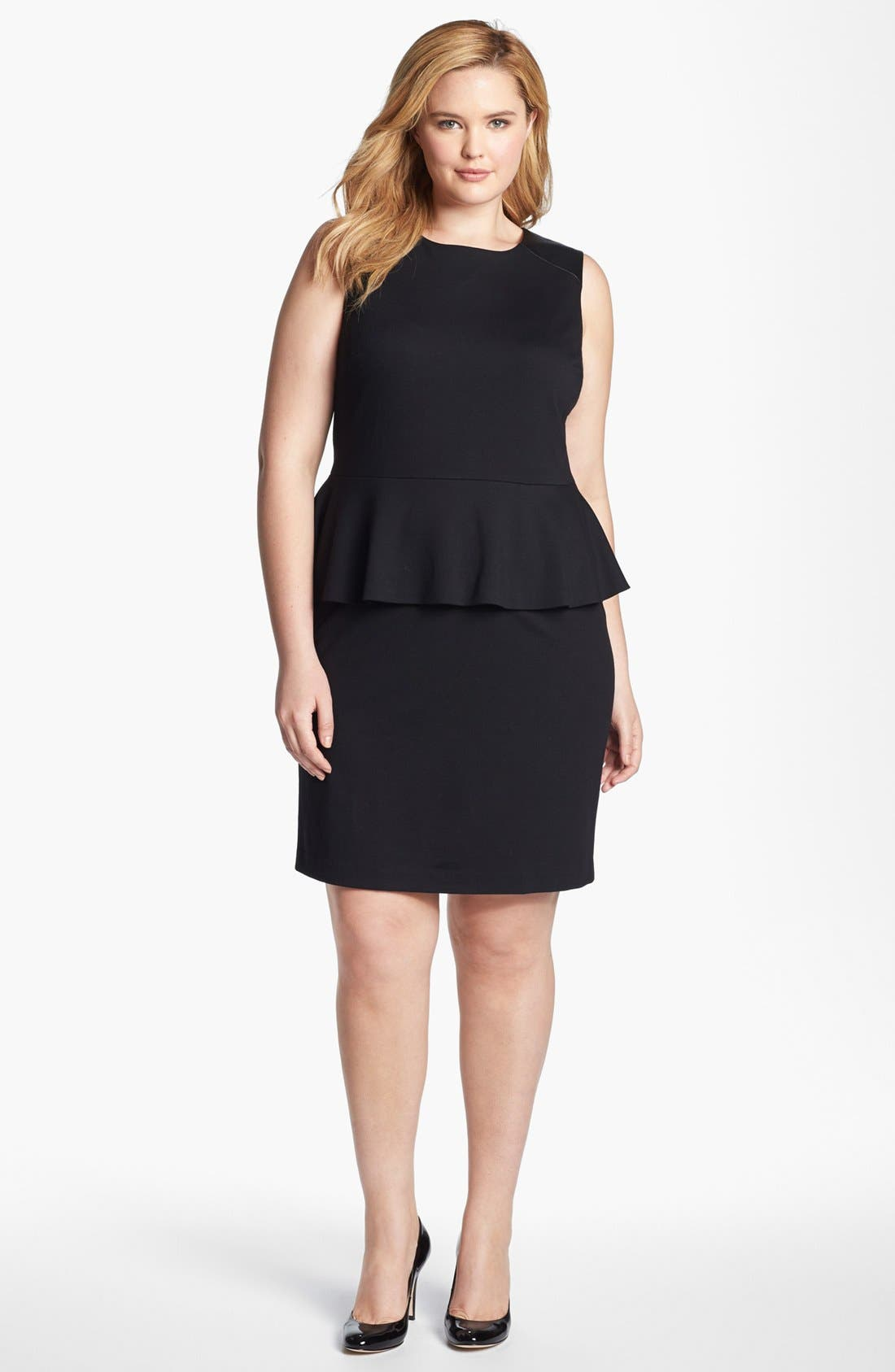 Main Image - Vince Camuto Sleeveless Peplum Sheath Dress (Plus Size) (Online Only)