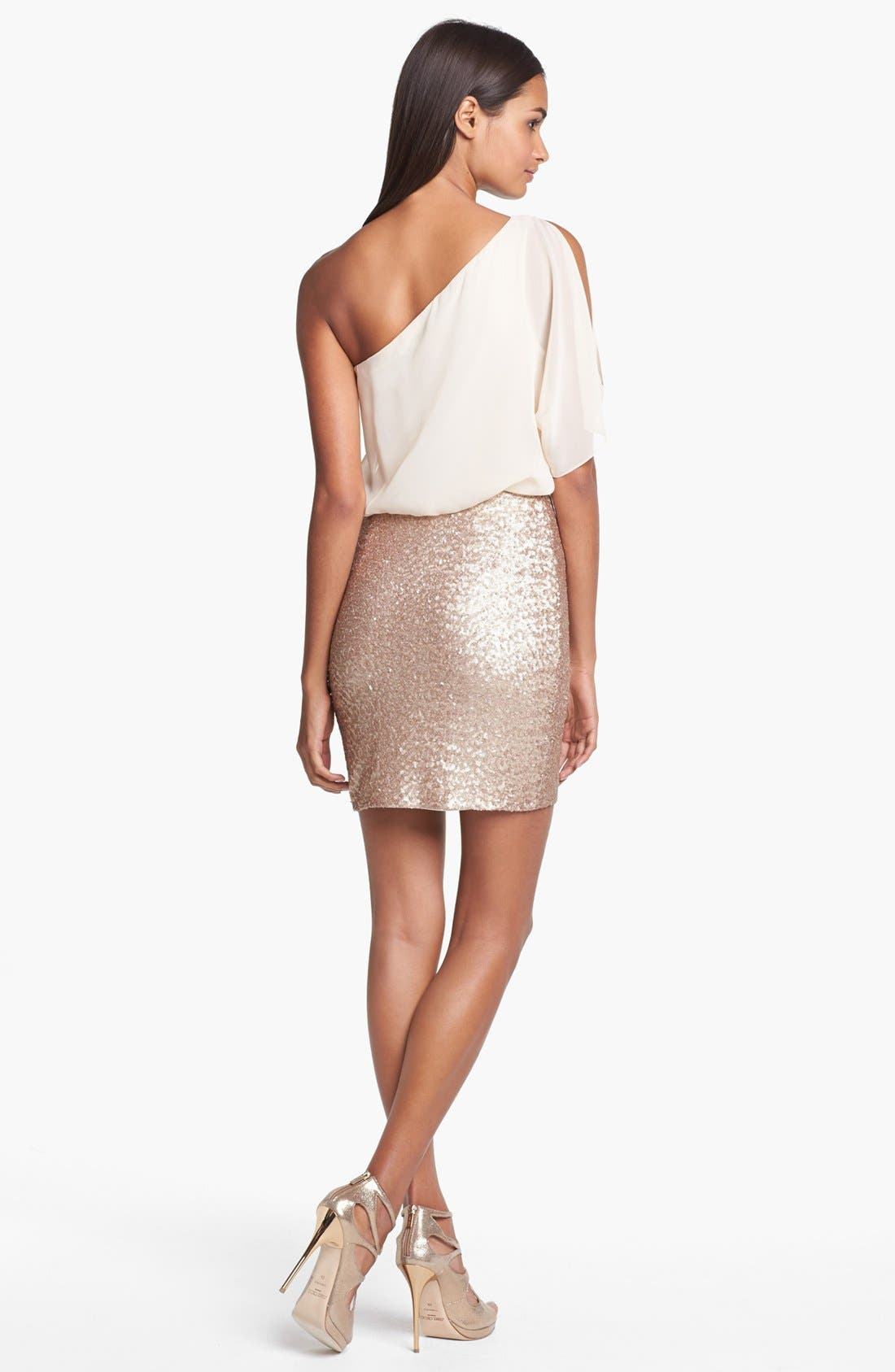 Alternate Image 2  - Aidan Mattox One Shoulder Mixed Media Dress