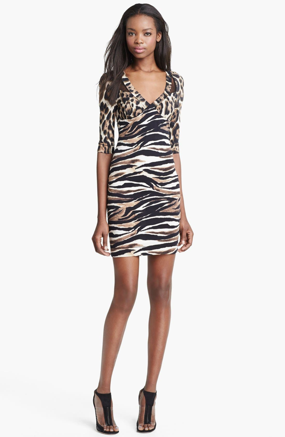 Alternate Image 1 Selected - Just Cavalli Leopard & Zebra Print Jersey Dress