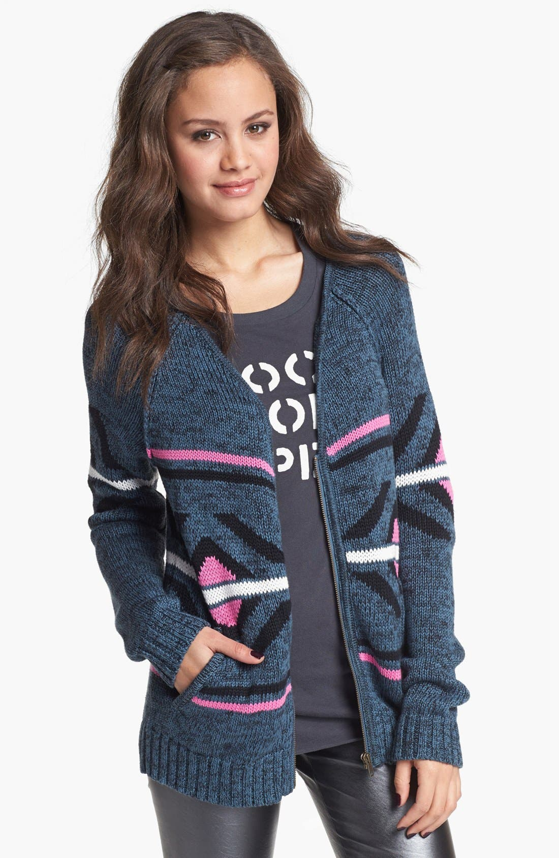 Alternate Image 1 Selected - Rubbish® 'Shooting Star' Zip Cardigan (Juniors)