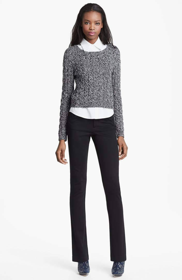 Alice Olivia Crop Cable Sweater Collared Shirt Nordstrom