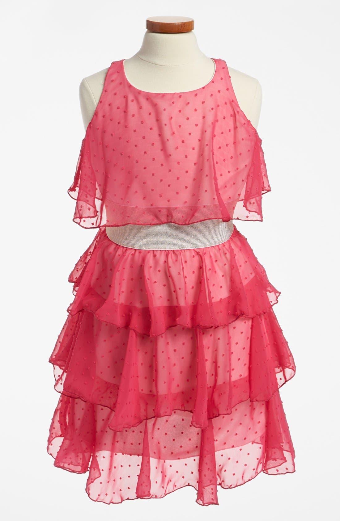 Main Image - Un Deux Trois Tiered Chiffon Dress (Big Girls)