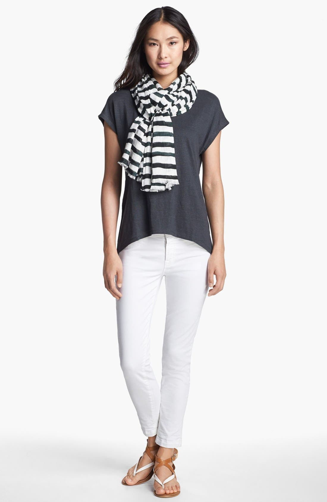 Alternate Image 2  - Eileen Fisher Stripe Linen Twill Scarf