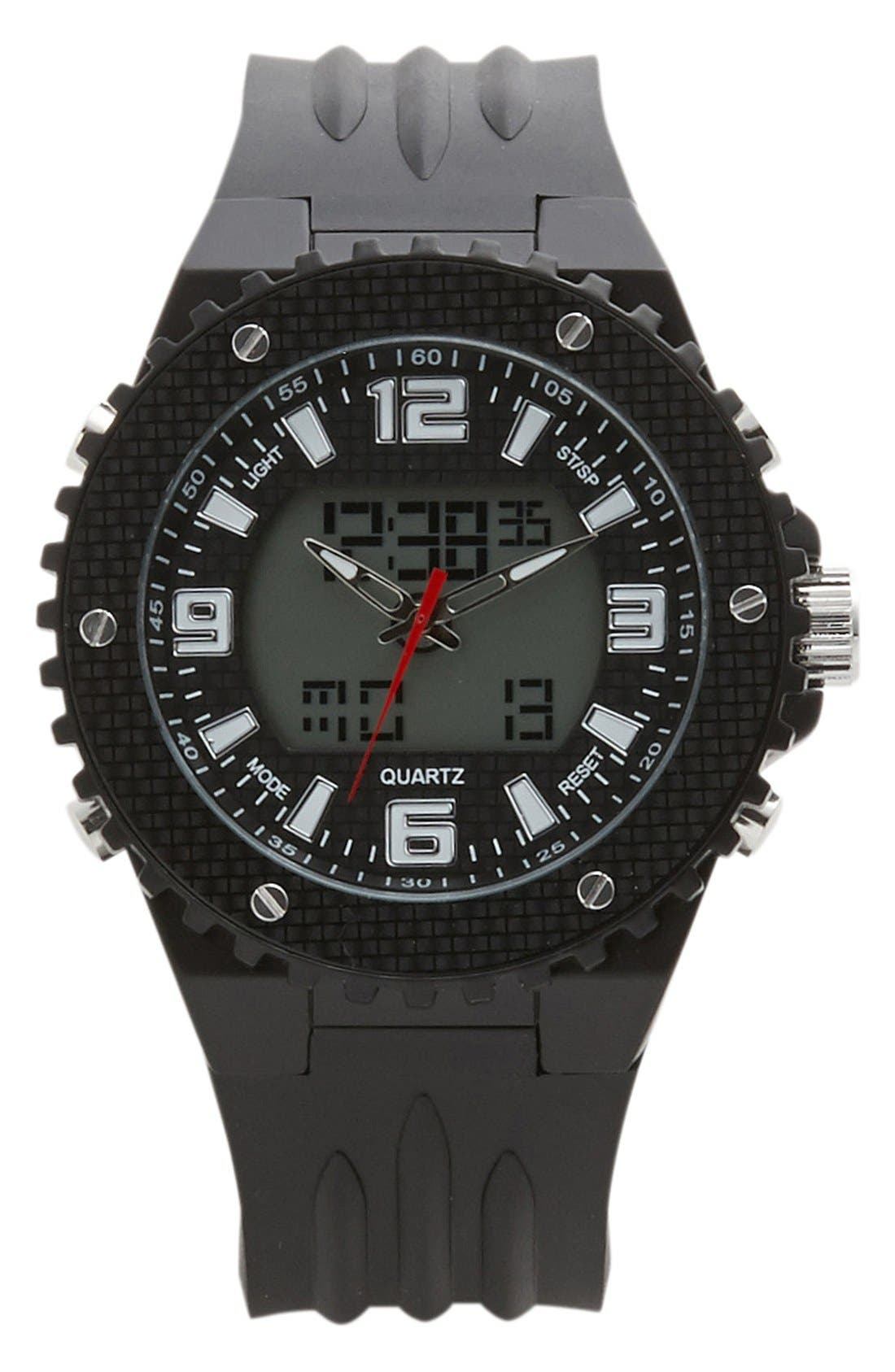 Main Image - ACCUTIME Dual Function Silicone Strap Watch, 48mm