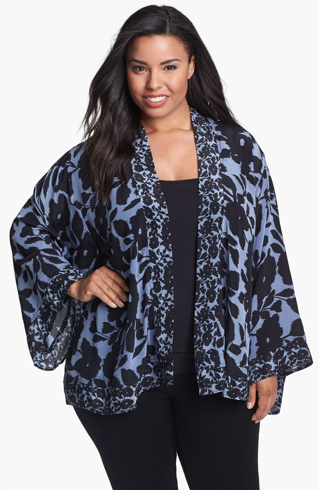 Alternate Image 1 Selected - Tolani 'Shayna' Silk Jacket (Plus Size)