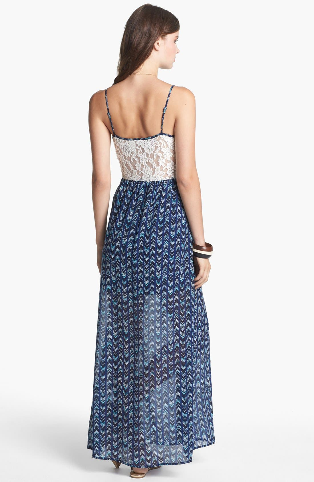Alternate Image 2  - Mimi Chica Lace Inset Maxi Dress (Juniors)