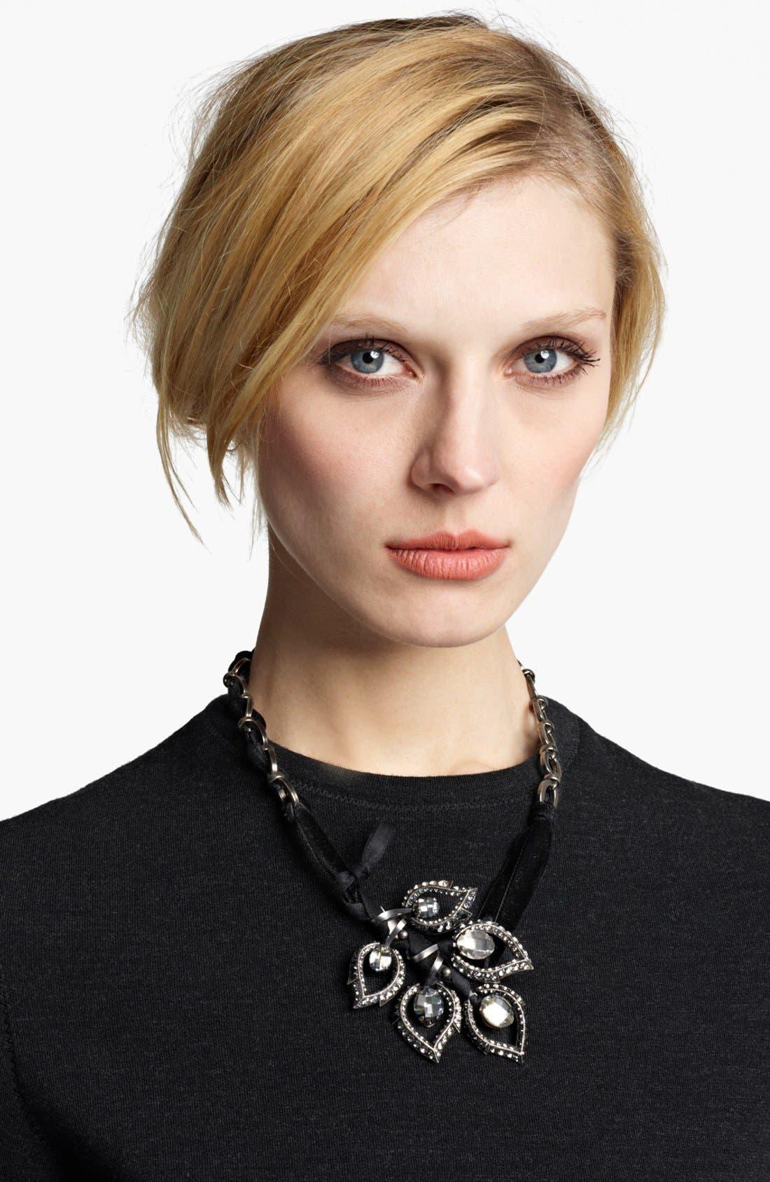 Main Image - Lanvin Crystal Leaf Ribbon Necklace