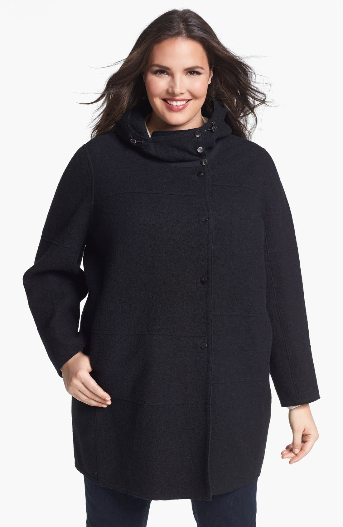 Alternate Image 1 Selected - Kristen Blake Hooded Boiled Wool Topper (Plus Size) (Online Only)
