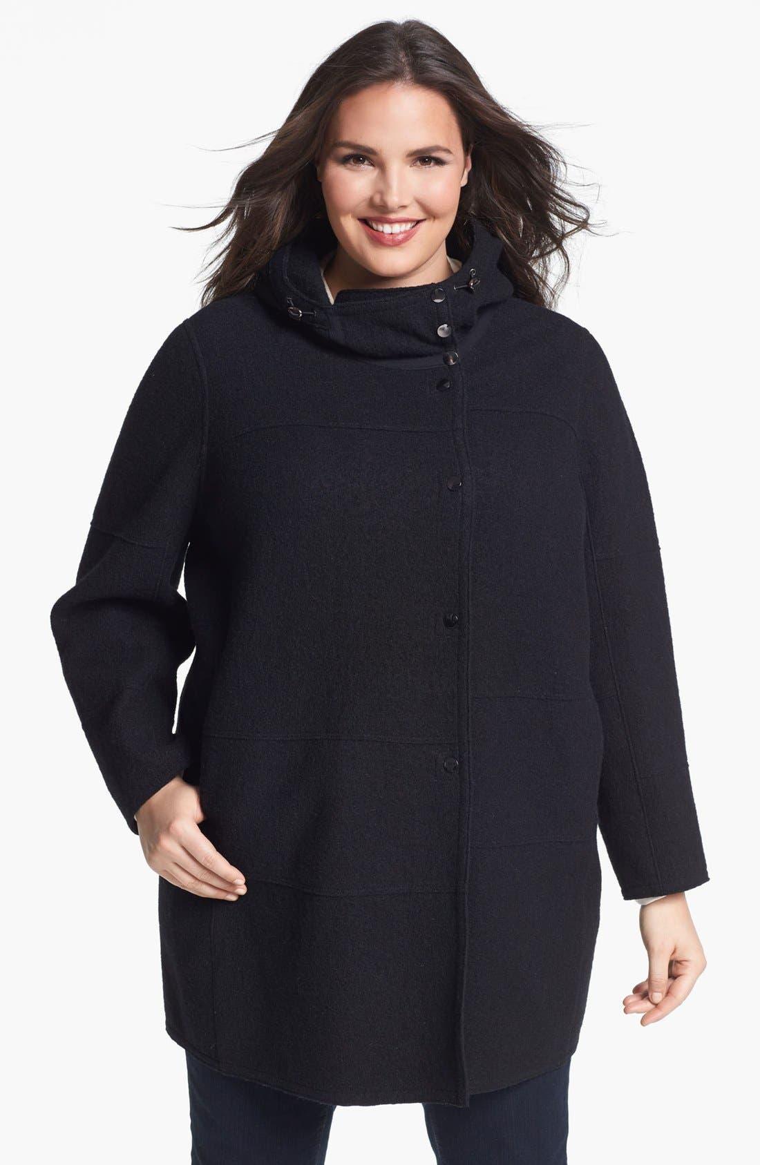 Main Image - Kristen Blake Hooded Boiled Wool Topper (Plus Size) (Online Only)