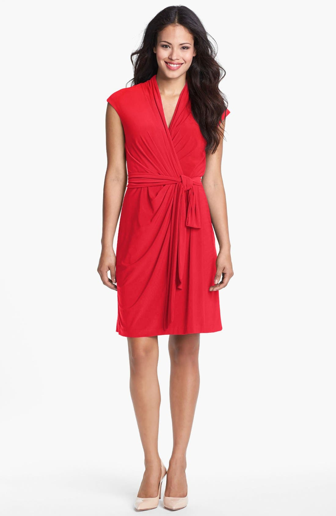 Alternate Image 1 Selected - Eliza J Cap Sleeve Faux Wrap Jersey Dress (Online Only)