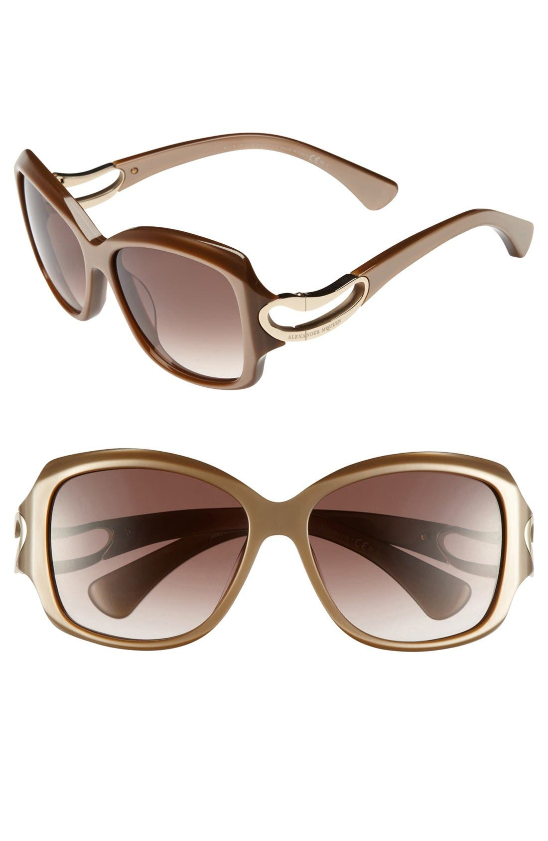 Main Image - Alexander McQueen 56mm Retro Sunglasses