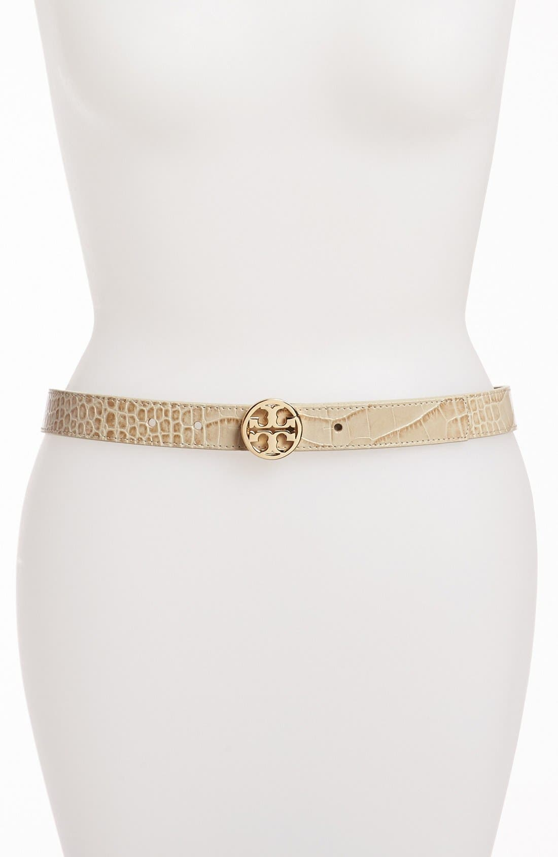 Alternate Image 1 Selected - Tory Burch Croc Embossed Leather Belt