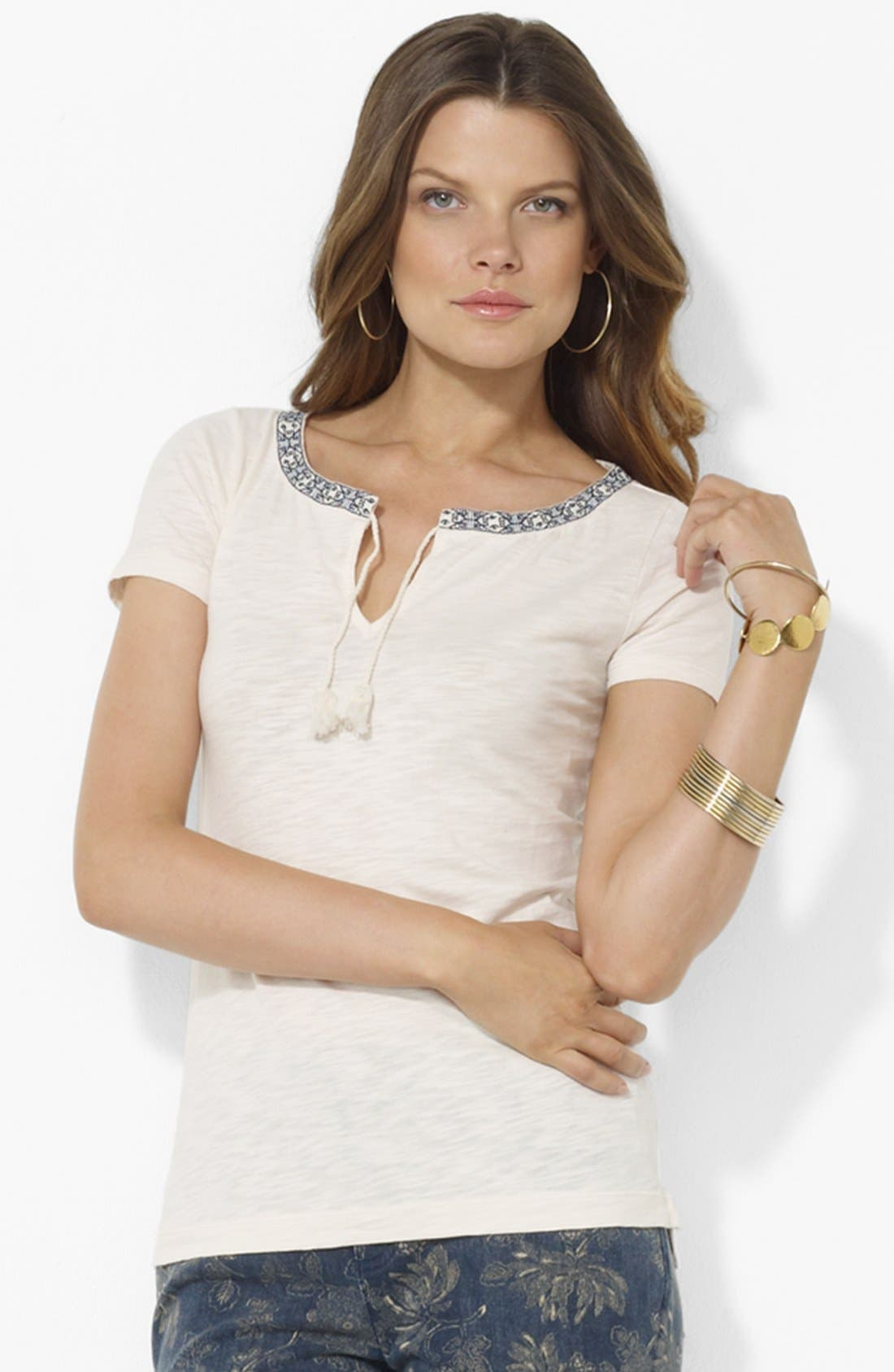 Alternate Image 1 Selected - Lauren Ralph Lauren Embroidered Split Neck Tee