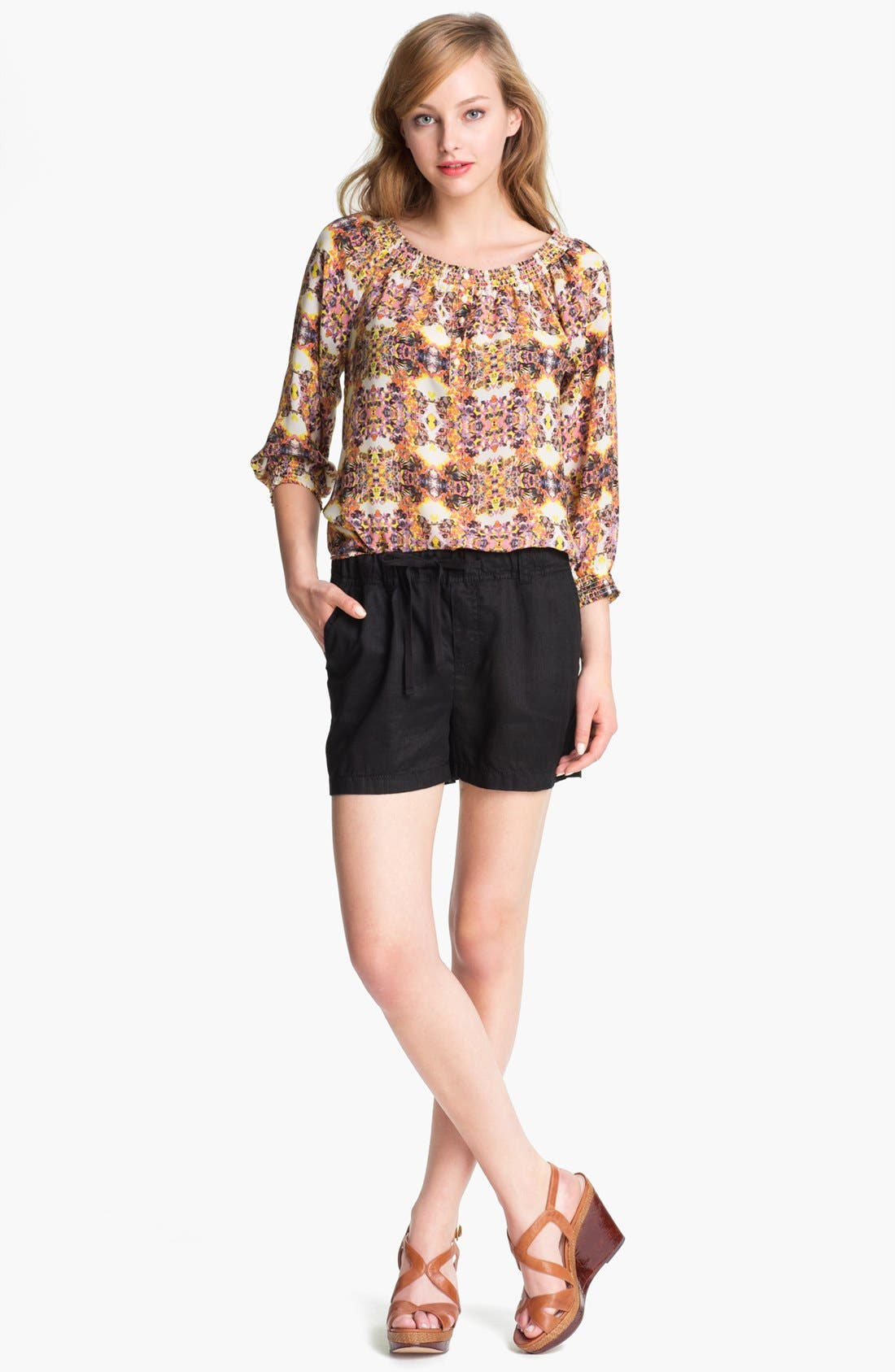 Alternate Image 2  - Caslon® Three Quarter Sleeve Peasant Blouse (Petite)
