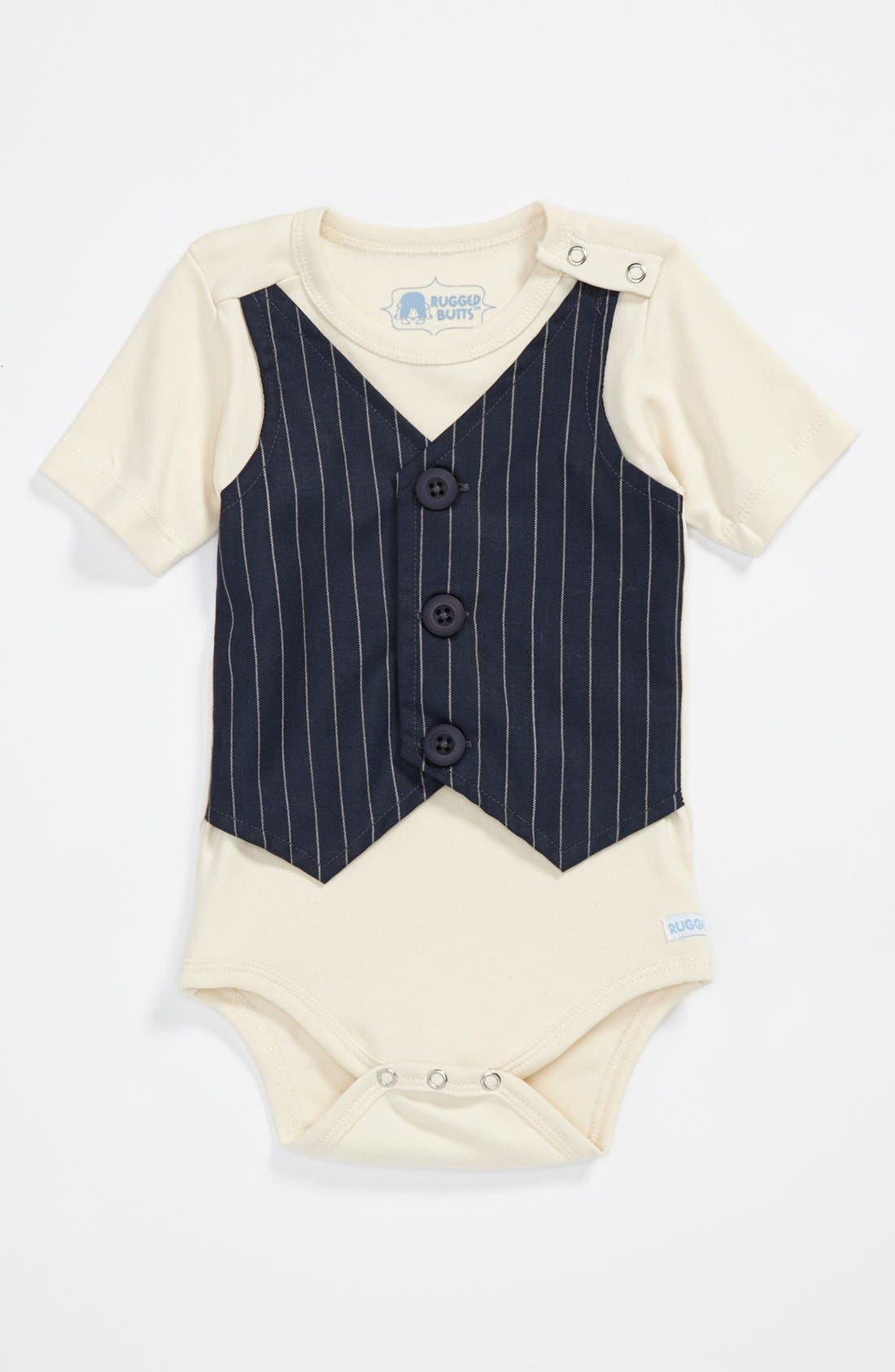 Alternate Image 1 Selected - RuggedButts 'Pinstripe' Bodysuit (Baby Boys)