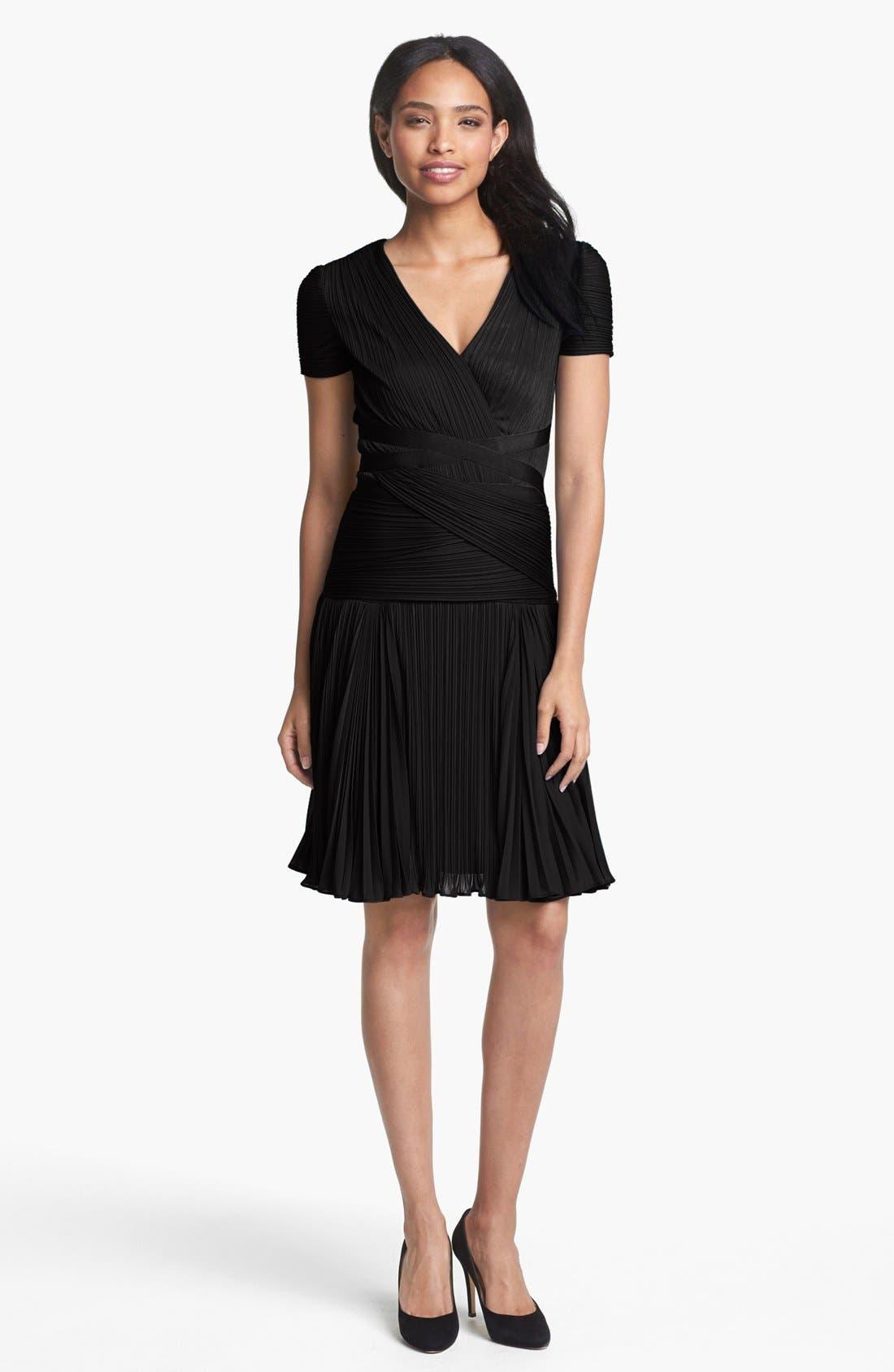 Main Image - Halston Heritage Pleat Drop Waist A-Line Dress
