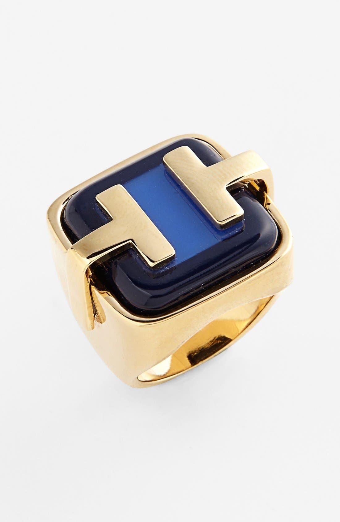 Main Image - Tory Burch 'Travis' Logo Ring