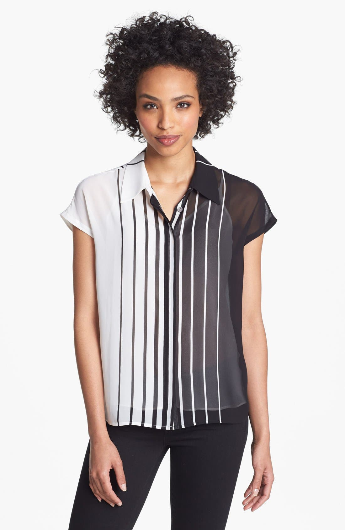 Alternate Image 1 Selected - Vince Camuto Stripe Short Sleeve Blouse (Plus Size)