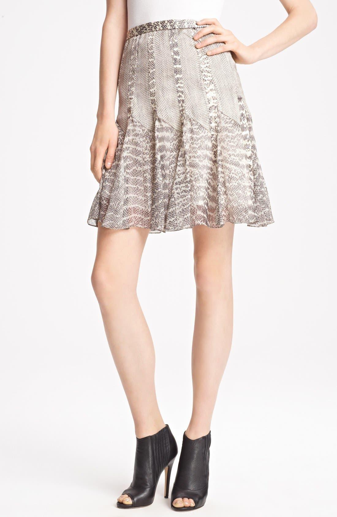 Main Image - Jason Wu Snakeskin Print Satin & Chiffon Skirt