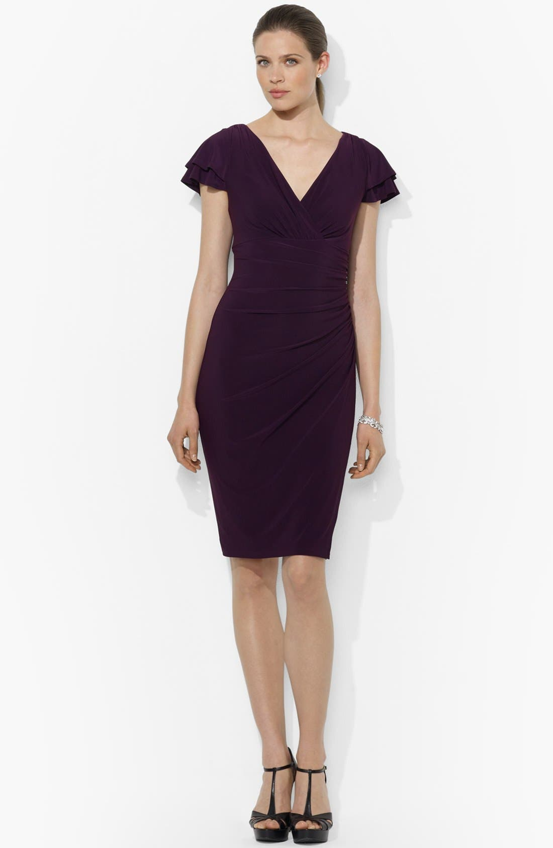Main Image - Lauren Ralph Lauren Flutter Sleeve Jersey Sheath Dress