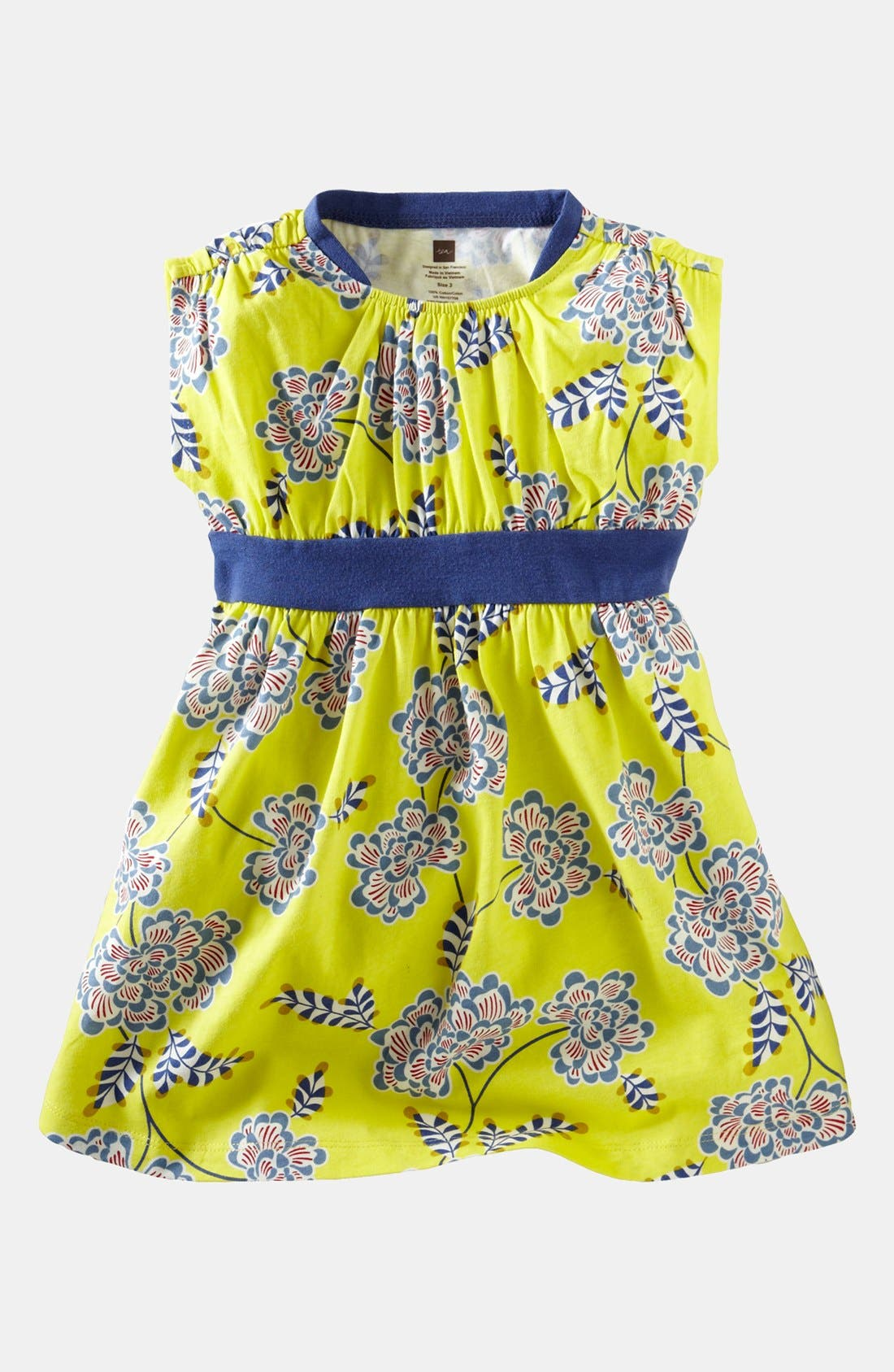 Main Image - Tea Collection 'Chrysanthemum' Banded Dress (Baby Girls)