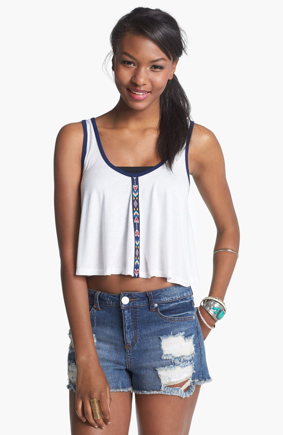 Alternate Image 1 Selected - Elodie Print Trim Crop Tank (Juniors)