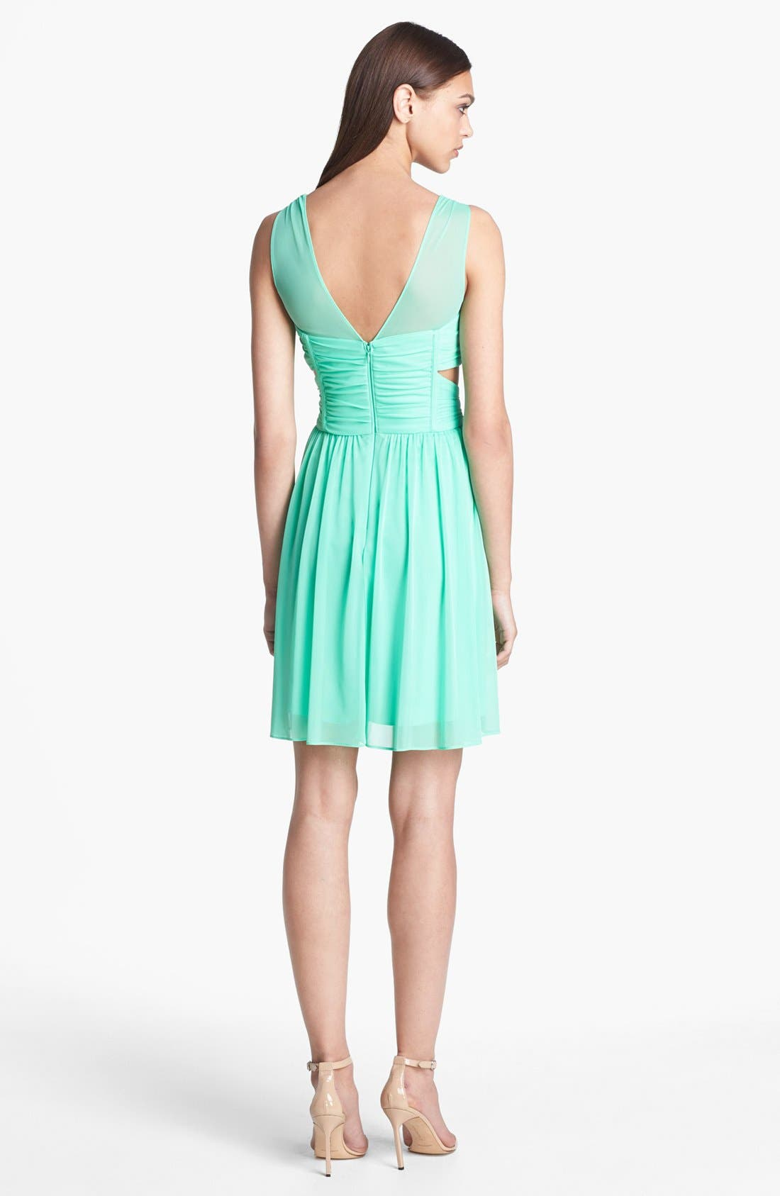 Alternate Image 2  - Hailey by Adrianna Papell Side Cutout Mesh Dress
