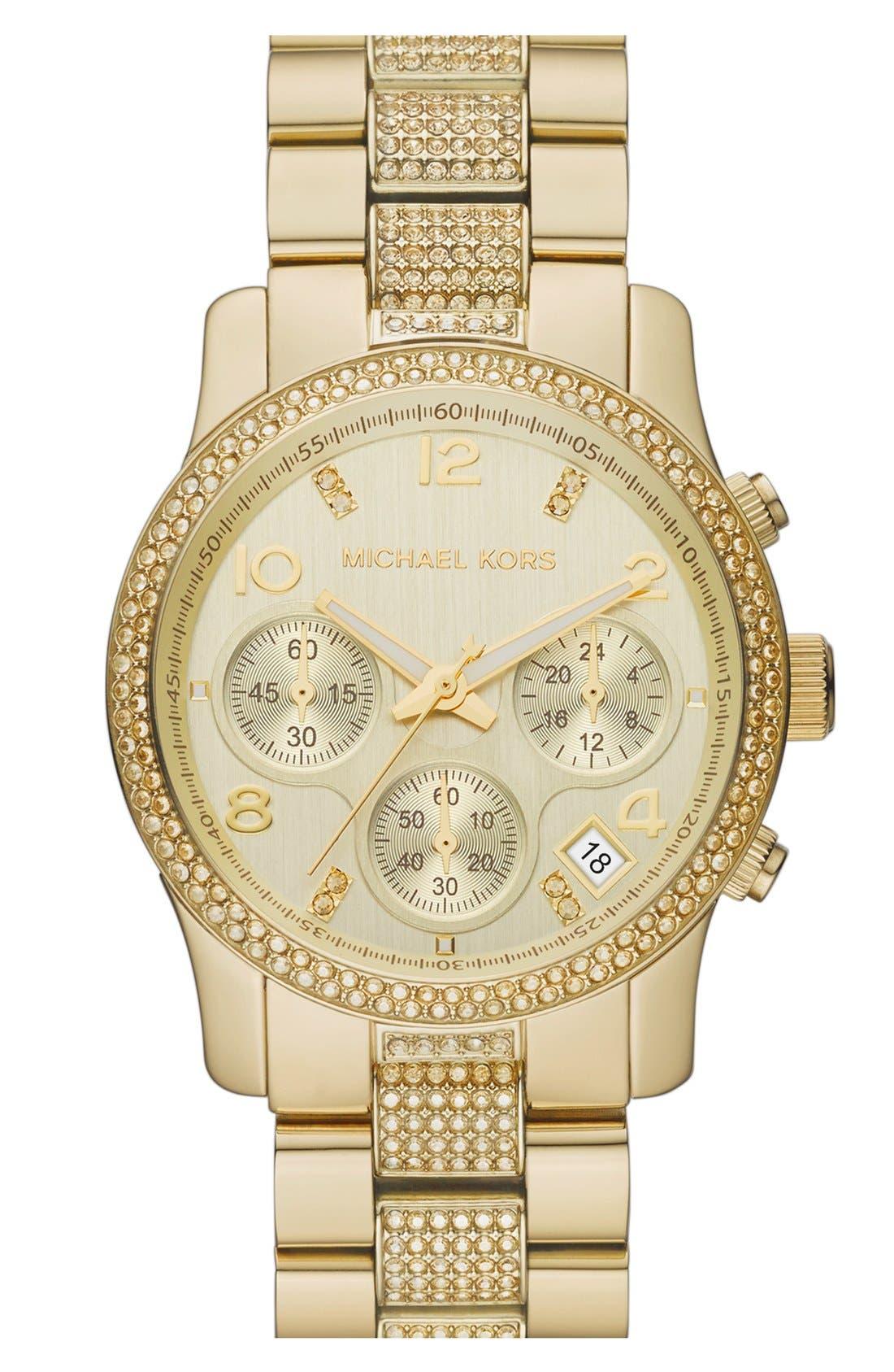 Main Image - Michael Kors 'Runway' Crystal Chronograph Bracelet Watch, 38mm