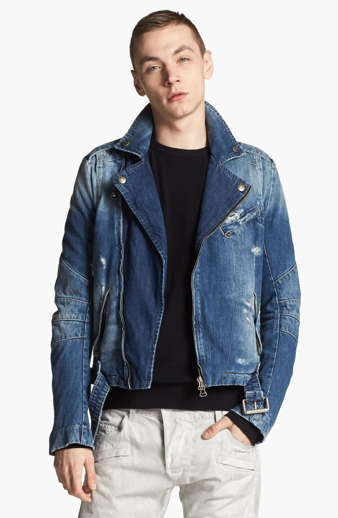 Main Image - Pierre Balmain Denim Moto Jacket (Online Only)