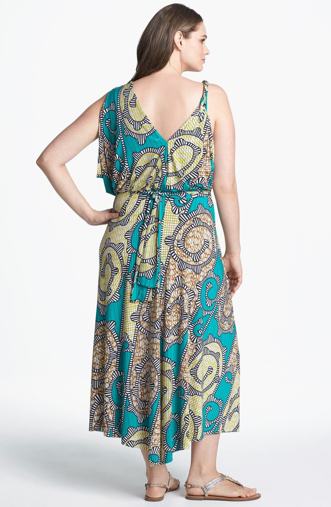 Alternate Image 2  - Tbags Los Angeles Print Front Twist Maxi Dress (Plus Size)