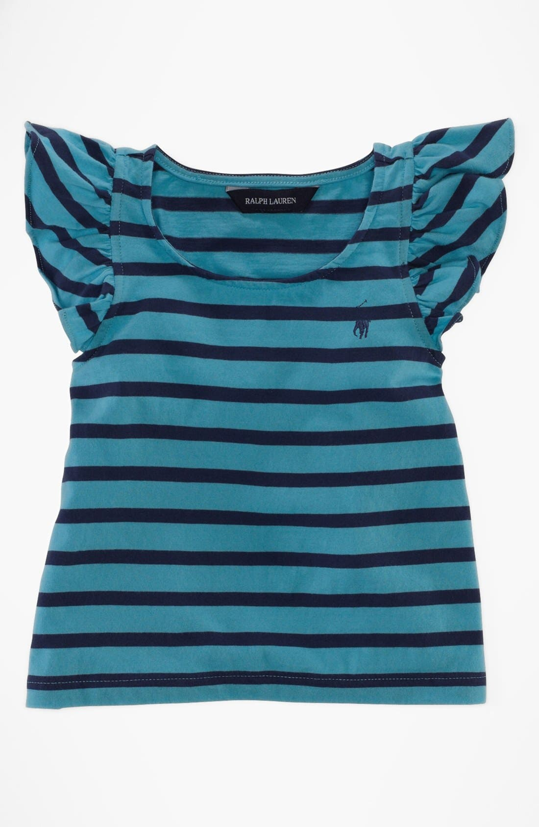Alternate Image 1 Selected - Ralph Lauren Flutter Sleeve Top (Toddler Girls)