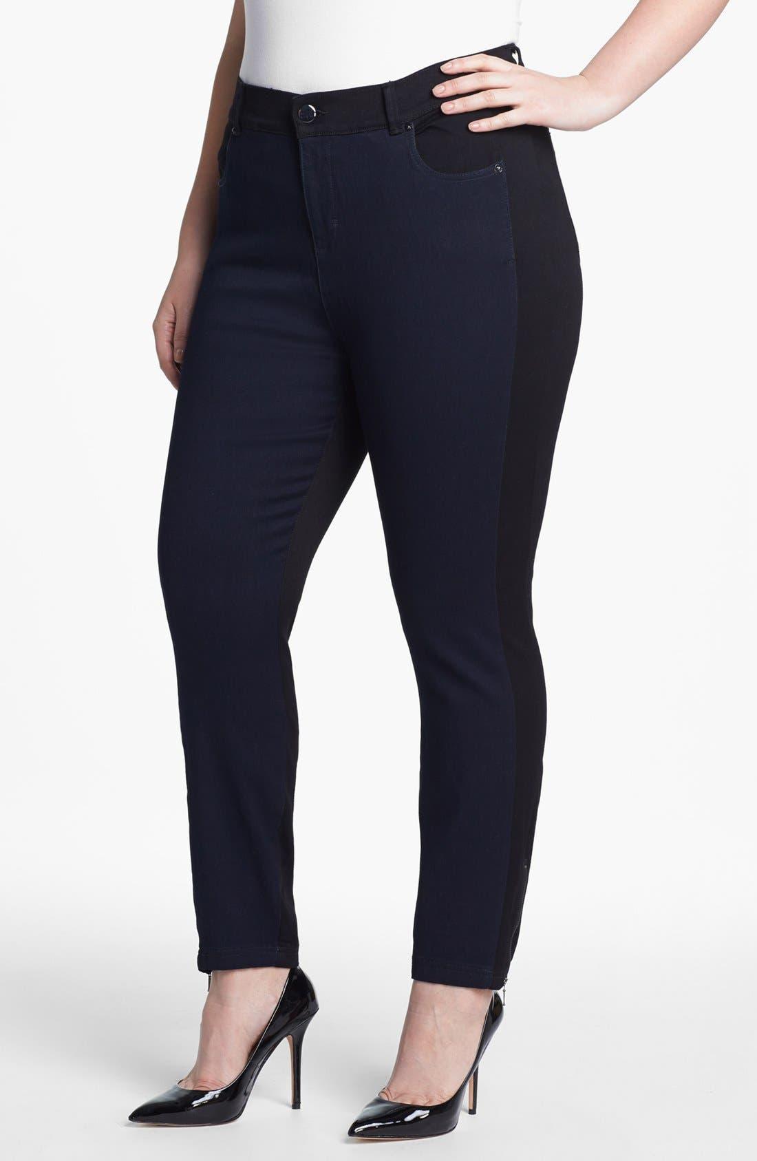 Alternate Image 1 Selected - Evans Colorblock Skinny Jeans (Plus Size)