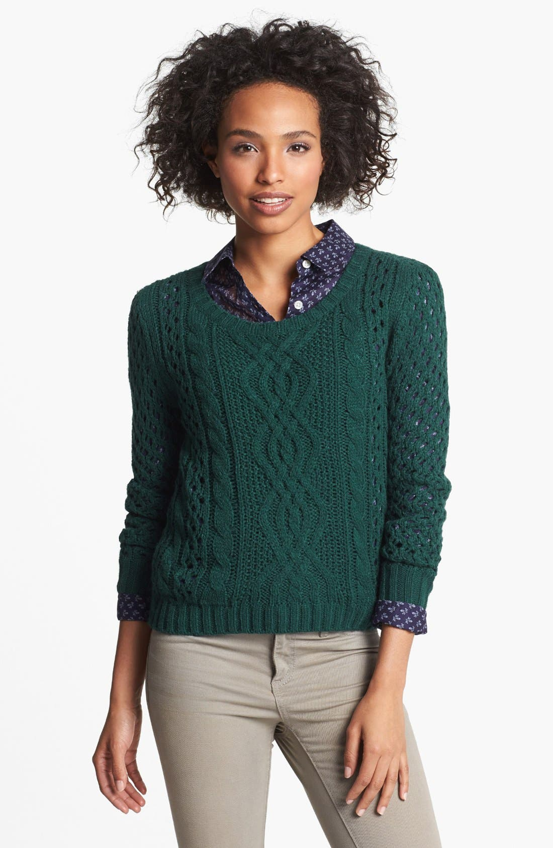 Alternate Image 1 Selected - Halogen® Open Knit Cable Sweater