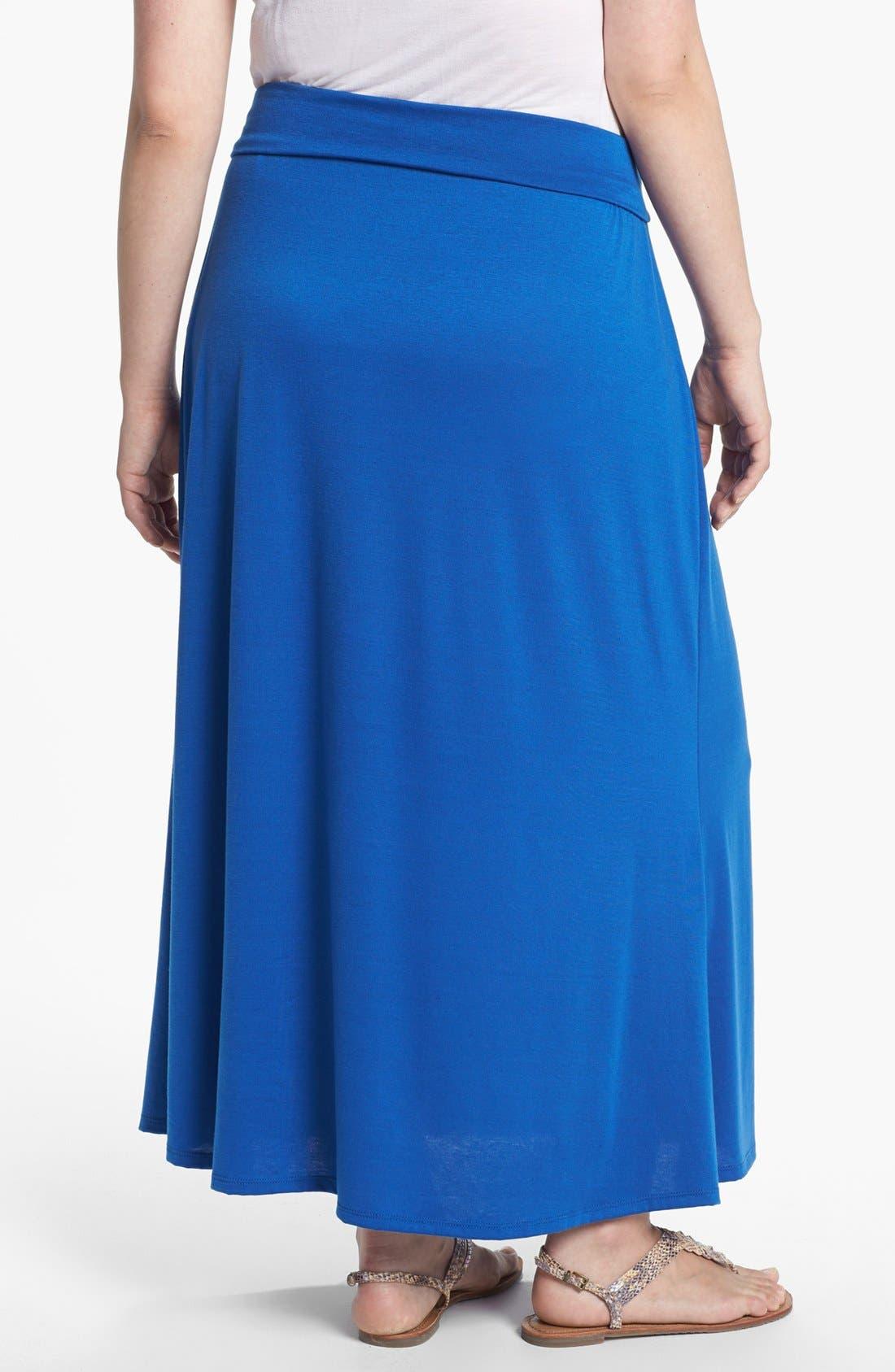 Alternate Image 2  - Lily White Foldover Maxi Skirt (Juniors Plus)