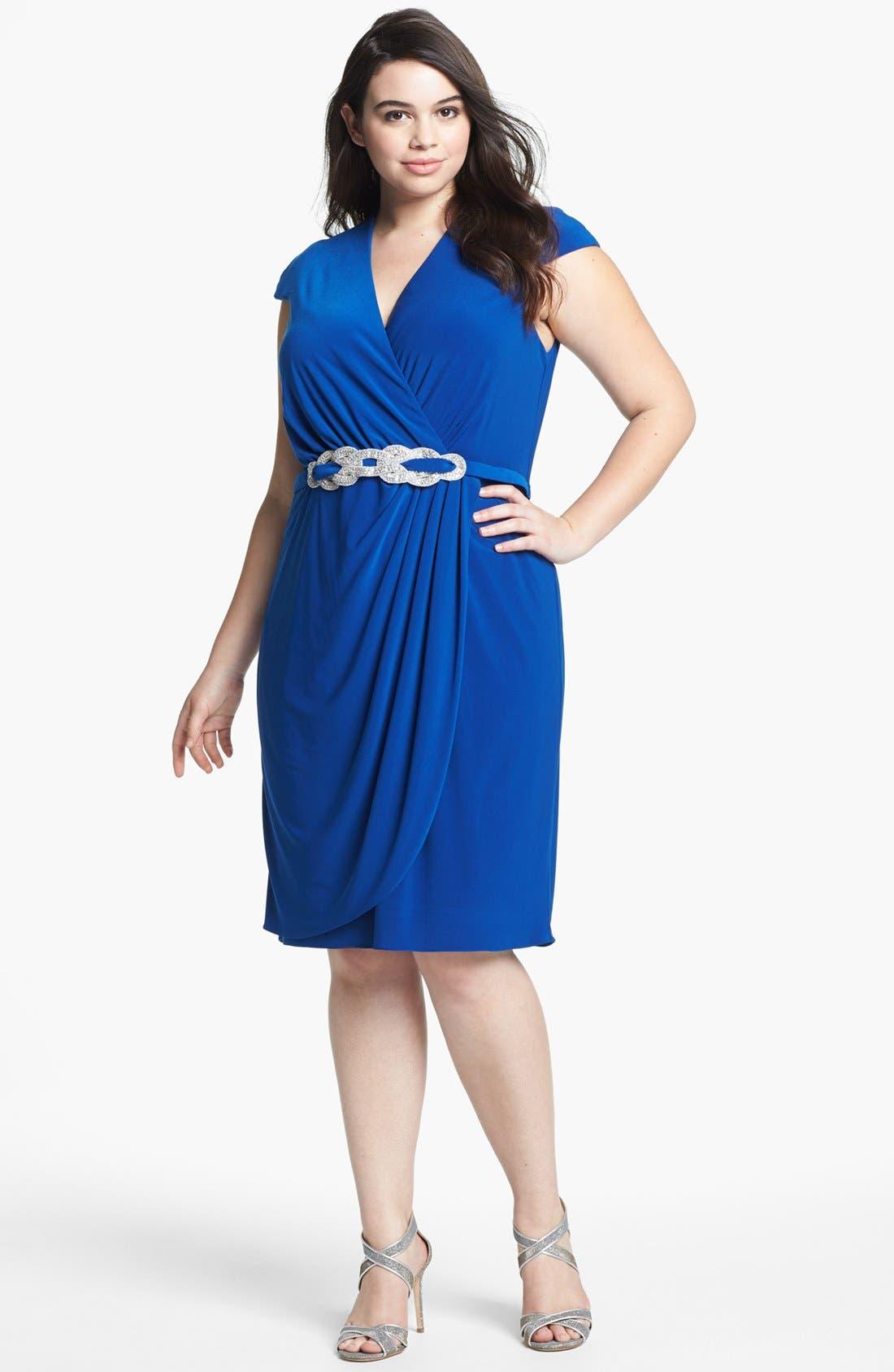 Main Image - Alex Evenings Embellished Faux Wrap Dress (Plus Size)