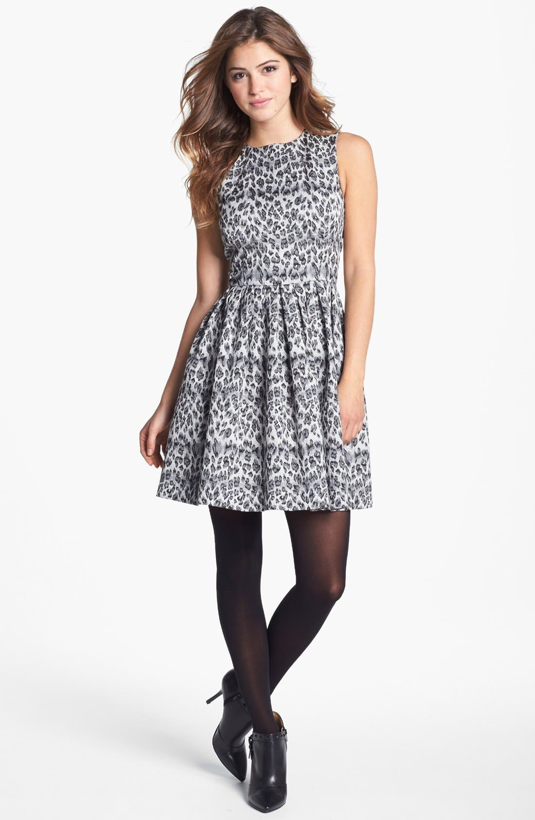Alternate Image 2  - Taylor Dresses Sleeveless Jacquard Fit & Flare Dress (Regular & Petite)