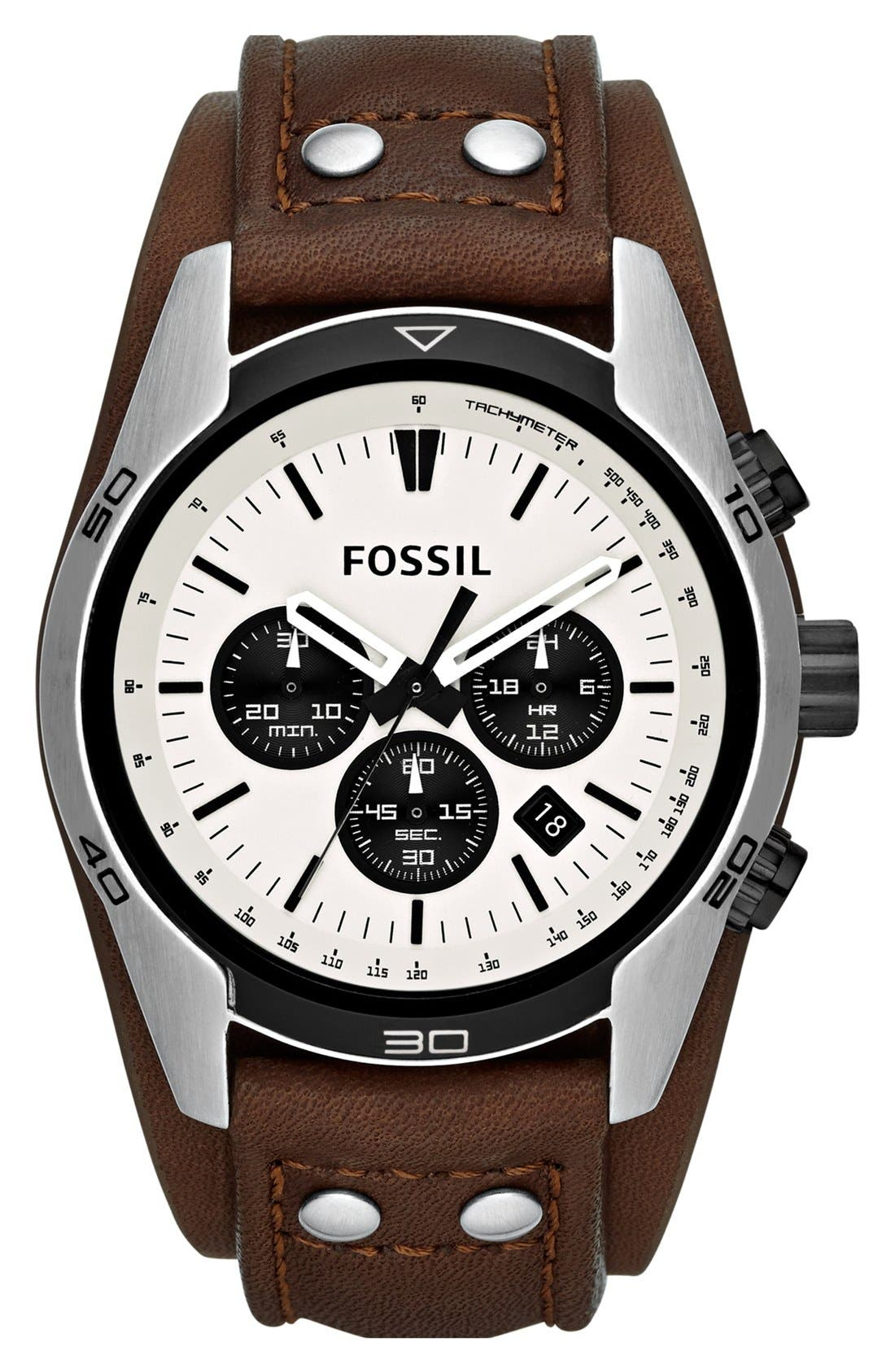 Main Image - Fossil 'Sport' Chronograph Leather Cuff Watch, 44mm